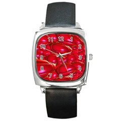 Red Abstract Cherry Balls Pattern Square Metal Watch