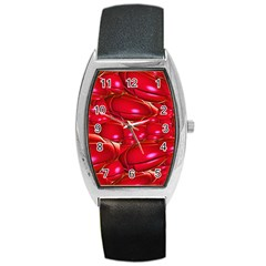 Red Abstract Cherry Balls Pattern Barrel Style Metal Watch