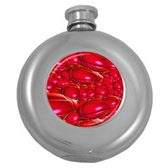 Red Abstract Cherry Balls Pattern Round Hip Flask (5 Oz)