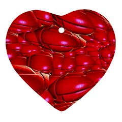 Red Abstract Cherry Balls Pattern Heart Ornament (Two Sides)