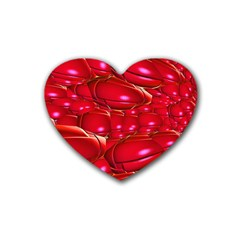 Red Abstract Cherry Balls Pattern Heart Coaster (4 Pack)