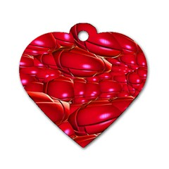 Red Abstract Cherry Balls Pattern Dog Tag Heart (one Side)