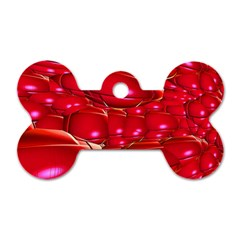 Red Abstract Cherry Balls Pattern Dog Tag Bone (one Side)