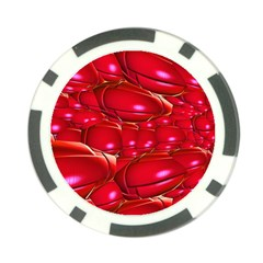 Red Abstract Cherry Balls Pattern Poker Chip Card Guard