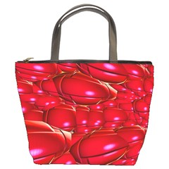 Red Abstract Cherry Balls Pattern Bucket Bags