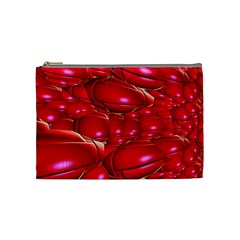 Red Abstract Cherry Balls Pattern Cosmetic Bag (medium)