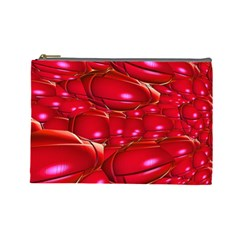 Red Abstract Cherry Balls Pattern Cosmetic Bag (large)