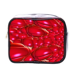 Red Abstract Cherry Balls Pattern Mini Toiletries Bags