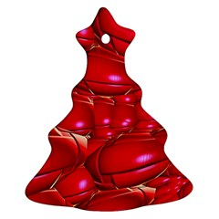 Red Abstract Cherry Balls Pattern Ornament (christmas Tree)