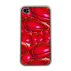 Red Abstract Cherry Balls Pattern Apple Iphone 4 Case (clear)
