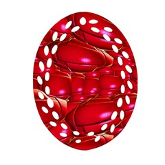 Red Abstract Cherry Balls Pattern Oval Filigree Ornament (two Sides)