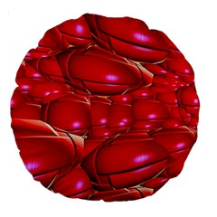 Red Abstract Cherry Balls Pattern Large 18  Premium Round Cushions