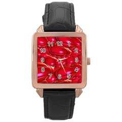 Red Abstract Cherry Balls Pattern Rose Gold Leather Watch