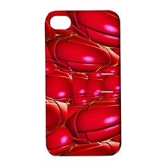 Red Abstract Cherry Balls Pattern Apple Iphone 4/4s Hardshell Case With Stand