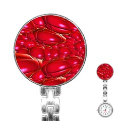 Red Abstract Cherry Balls Pattern Stainless Steel Nurses Watch