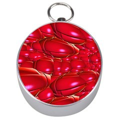 Red Abstract Cherry Balls Pattern Silver Compasses