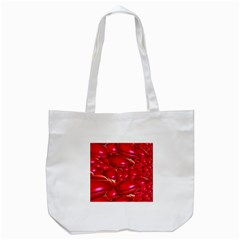 Red Abstract Cherry Balls Pattern Tote Bag (white)