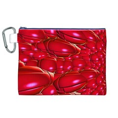 Red Abstract Cherry Balls Pattern Canvas Cosmetic Bag (xl)