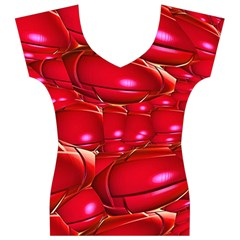 Red Abstract Cherry Balls Pattern Women s V-Neck Cap Sleeve Top