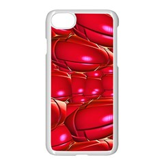 Red Abstract Cherry Balls Pattern Apple Iphone 7 Seamless Case (white)