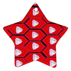 Red Bee Hive Ornament (star)