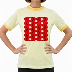 Red Bee Hive Women s Fitted Ringer T Shirts