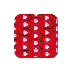 Red Bee Hive Rubber Square Coaster (4 Pack)