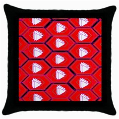Red Bee Hive Throw Pillow Case (black)