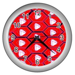 Red Bee Hive Wall Clocks (silver)