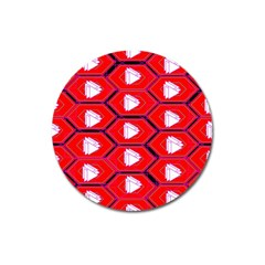 Red Bee Hive Magnet 3  (round)