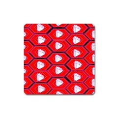 Red Bee Hive Square Magnet