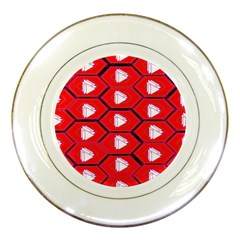 Red Bee Hive Porcelain Plates