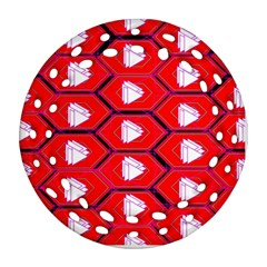 Red Bee Hive Round Filigree Ornament (two Sides)