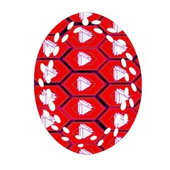 Red Bee Hive Ornament (oval Filigree)