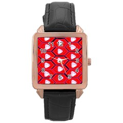 Red Bee Hive Rose Gold Leather Watch