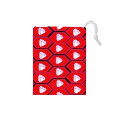 Red Bee Hive Drawstring Pouches (small)