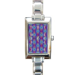 Red Blue Bee Hive Rectangle Italian Charm Watch