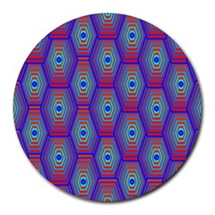 Red Blue Bee Hive Round Mousepads
