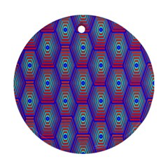 Red Blue Bee Hive Ornament (Round)