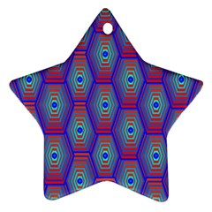 Red Blue Bee Hive Ornament (star)