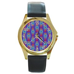 Red Blue Bee Hive Round Gold Metal Watch