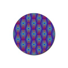 Red Blue Bee Hive Rubber Coaster (round)