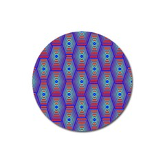 Red Blue Bee Hive Magnet 3  (round)