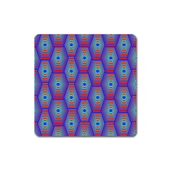 Red Blue Bee Hive Square Magnet