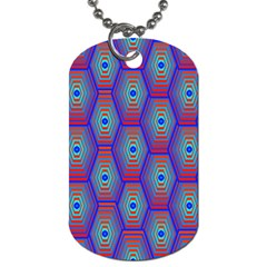 Red Blue Bee Hive Dog Tag (One Side)