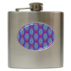 Red Blue Bee Hive Hip Flask (6 oz)