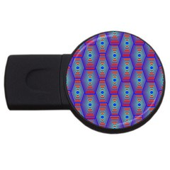 Red Blue Bee Hive USB Flash Drive Round (1 GB)