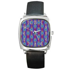 Red Blue Bee Hive Square Metal Watch