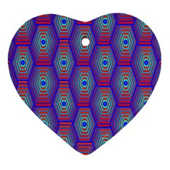 Red Blue Bee Hive Heart Ornament (two Sides)