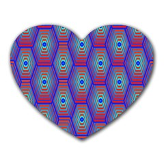 Red Blue Bee Hive Heart Mousepads